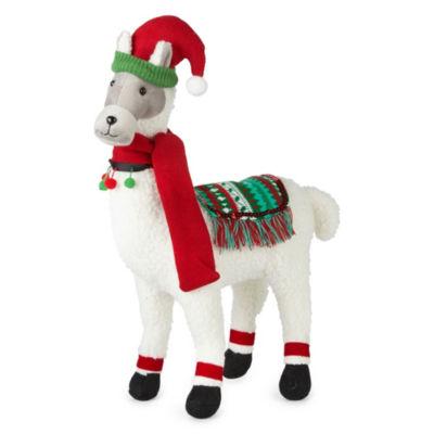 North Pole Trading Co. 15 Inch Fabric Llama Animal Figurine