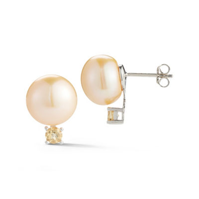 Yellow CULTURED FRESHWATER PEARLS Sterling Silver 16.7mm Stud Earrings