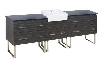 92.75-in. W 18-in. D Modern Plywood-Melamine Vanity Base Set Only In Dawn Grey