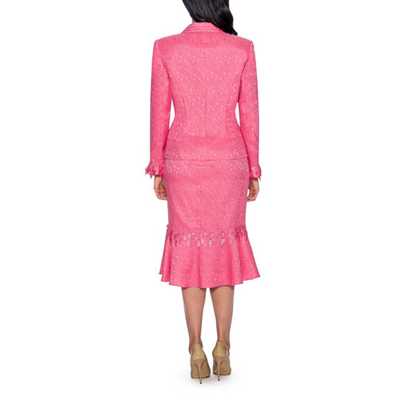 Giovanna Collection Women's 2-PC Brocade Notch Collar Skirt Suit - Plus