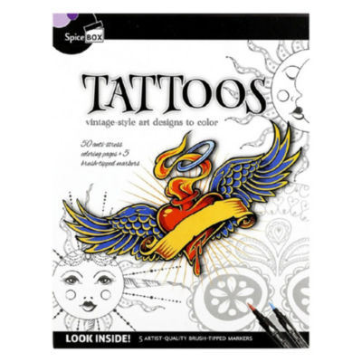 Spicebox Tattoos Vintage-Style Art Designs To Color Kit