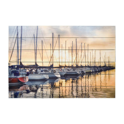 New View Docked Sailboats Wood Box Plank-Printed Canvas Art