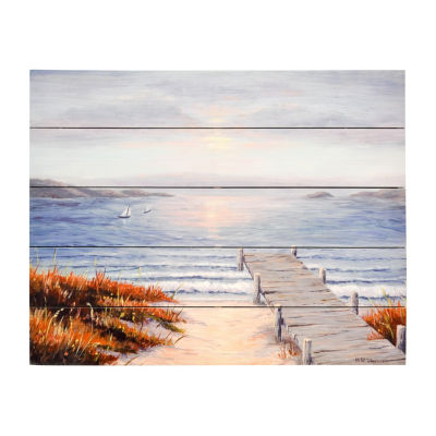 New View Pier Vacation Wood Box Plank-Printed Canvas Art