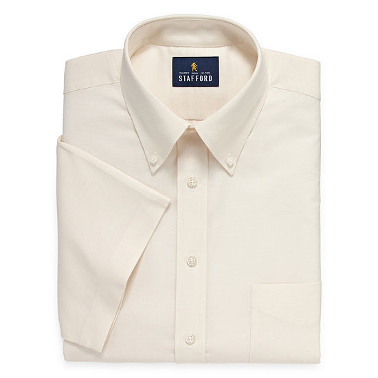 Stafford Travel Wrinkle Free Stretch Oxford Short Sleeve Button Down Collar Big And Tall Mens Dress Shirt