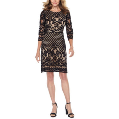 Danny & Nicole 3/4 Sleeve Lace Floral Shift Dress