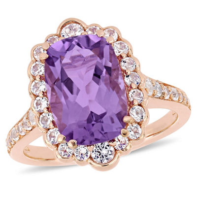 Womens Genuine Purple Amethyst 18K Rose Gold Over Silver Cocktail Ring