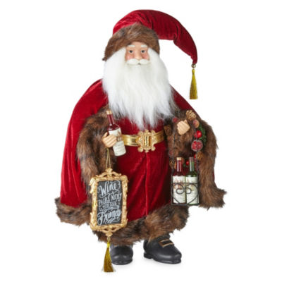North Pole Trading Co. 18 Inch Wine Santa Figurine