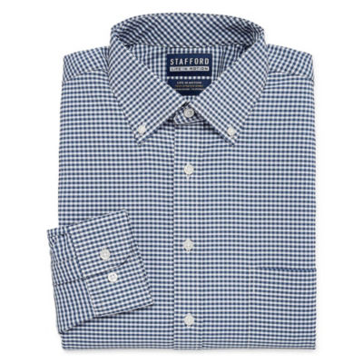 Stafford Poly Span Big And Tall Long Sleeve Woven Gingham Dress Shirt