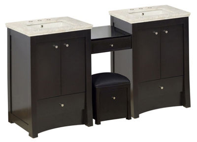 84.75-in. W Floor Mount Distressed Antique WalnutVanity Set For 3H8-in. Drilling Beige Top BiscuitUM Sink