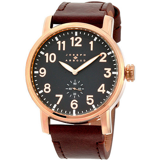 Joseph Abboud Mens Brown Leather Strap Watch-Ja3211rg648-0bg