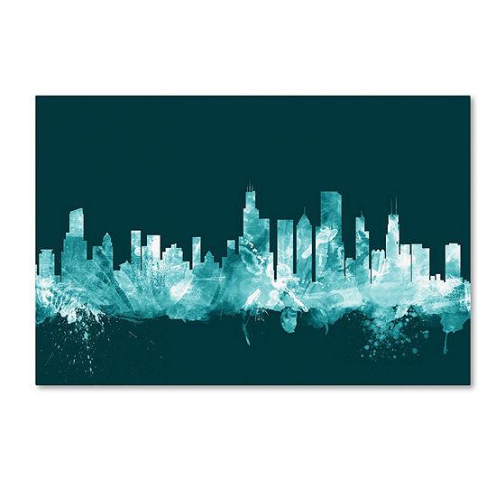 Trademark Fine Art Michael Tompsett Chicago Illinois Skyline Teal Giclee Canvas Art