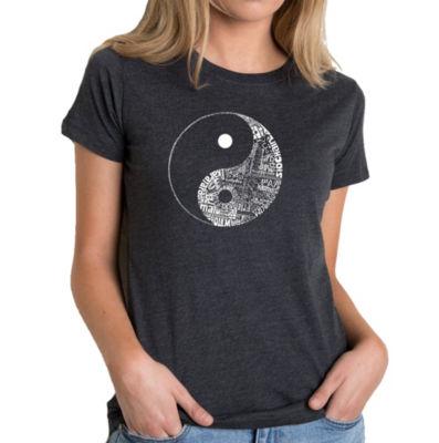 Los Angeles Pop Art Women's Premium Blend Word ArtT-shirt - YIN YANG