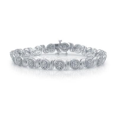 Womens 7.5 Inch 1/10 CT. T.W. White Diamond Sterling Silver Link Bracelet