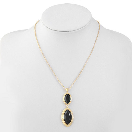 Monet Jewelry Black 17 Inch Cable Pendant Necklace