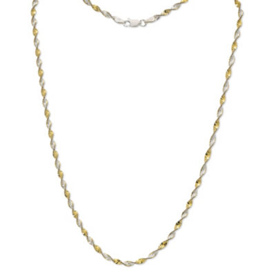 Made in Italy 24K Gold Over Silver Sterling Silver 18 Inch Solid Singapore Chain Necklace