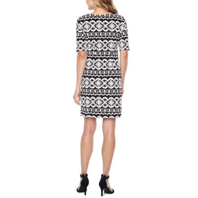 R & K Originals Short Sleeve Puff Print Pattern Shift Dress