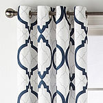 Liz Claiborne Quinn Geo Room-Darkening Grommet Top Single Curtain Panel