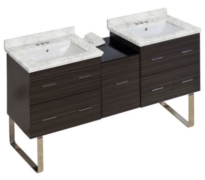 61.5-in. W Floor Mount Dawn Grey Vanity Set For 3H4-in. Drilling Bianca Carara Top White UM Sink