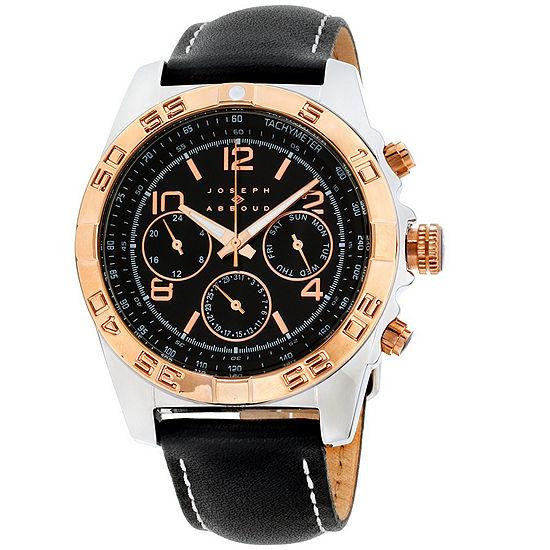 Joseph Abboud Mens Black Leather Strap Watch-Ja3219s648-362