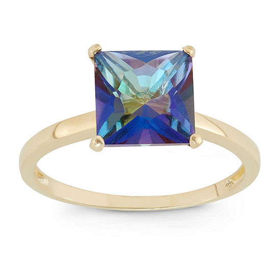 Womens Genuine Mystic Fire Topaz 10K Gold Solitaire Cocktail Ring