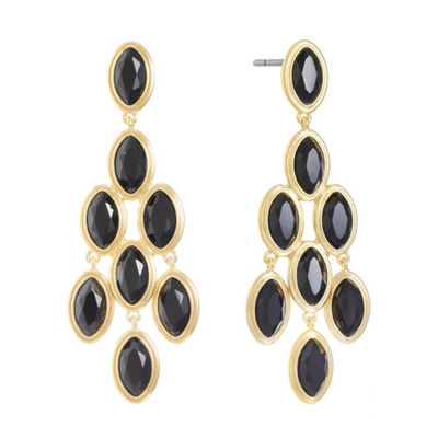 Monet Jewelry Black Chandelier Earrings