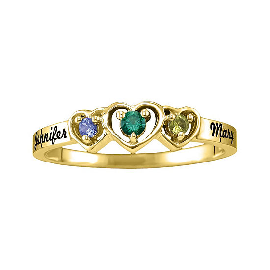 Womens Genuine Multi Color Stone 14K Gold Heart 3-Stone Cocktail Ring