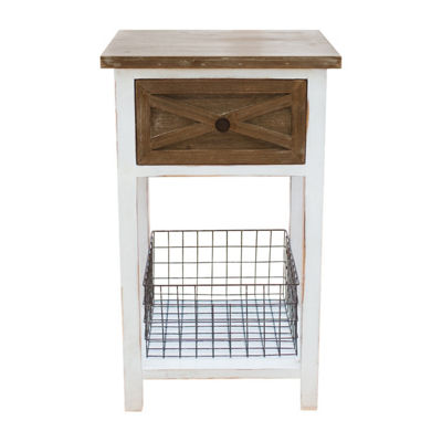 FirsTime Ashgrove Farmhouse 1-Drawer End Table with Wire Basket