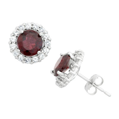 Genuine Red Garnet 10K White Gold 9.5mm Round Stud Earrings