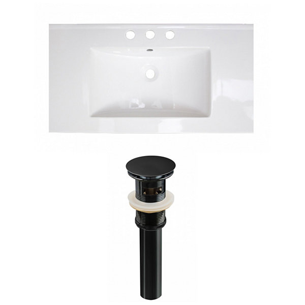 32-in. W 3H8-in. Ceramic Top Set In White Color -Overflow Drain Incl.