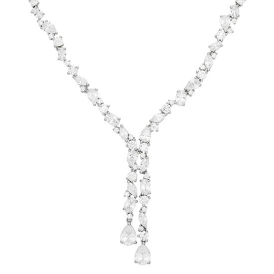 DiamonArt® Womens White Cubic Zirconia Sterling Silver Y Necklace