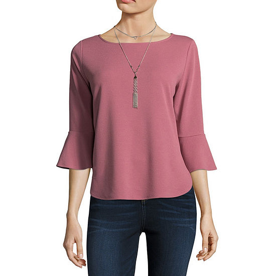 by&by Womens Boat Neck 3/4 Sleeve Blouse-Juniors