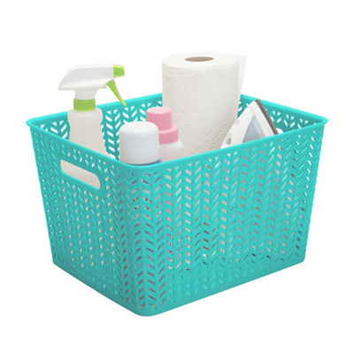 Herringbone Storage Tote-Mint-Large 13.75X11.5X8.75