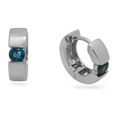 Genuine Blue Topaz Sterling Silver 13.7mm Round Hoop Earrings