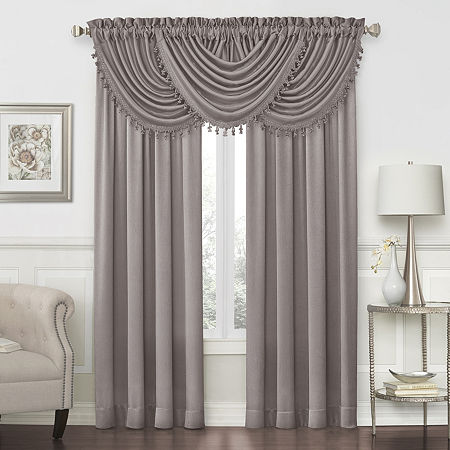 JCPenney Home Hilton Rod-Pocket Waterfall Valance, One Size , Gray