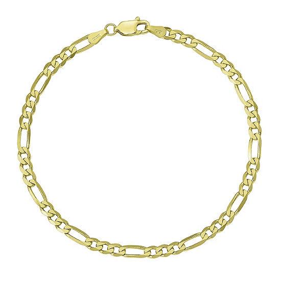 10K Gold 7 Inch Solid Figaro Chain Bracelet