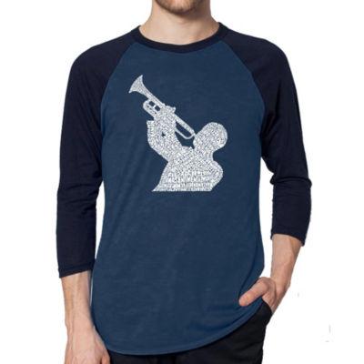 Los Angeles Pop Art Men's Raglan Baseball Word Art T-shirt - Mobsters