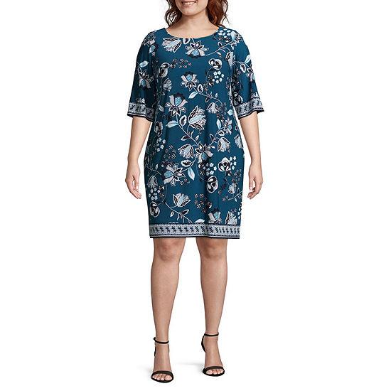 Studio 1 3/4 Sleeve Floral Shift Dress - Plus