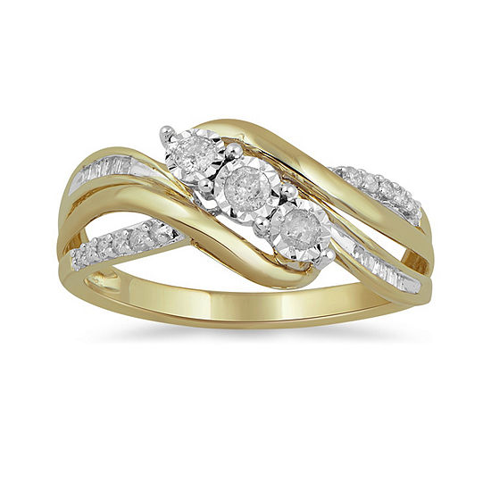 Womens 1/4 CT. T.W. Genuine White Diamond 10K Gold Cocktail Ring