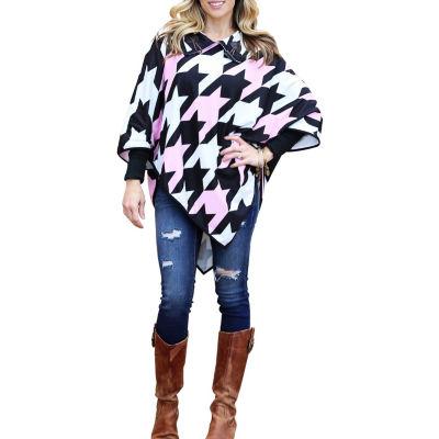 Mayah Kay Fashion Houndstooth Hooded Poncho