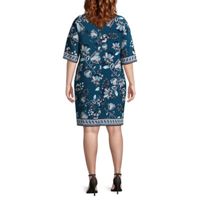 Studio 1 3/4 Sleeve Floral Shift Dress - Plus