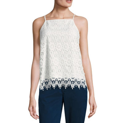 by&by Sleeveless Scoop Neck Crepe Blouse-Juniors