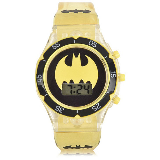 Batman Boys Digital Yellow Strap Watch-Bat4686jc