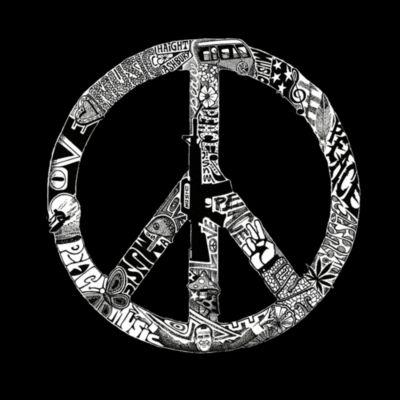 Los Angeles Pop Art Women's Raglan Word Art T-shirt - PEACE; LOVE; & MUSIC