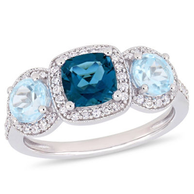 Womens 1/3 CT. T.W. Genuine Blue Topaz Sterling Silver Cocktail Ring