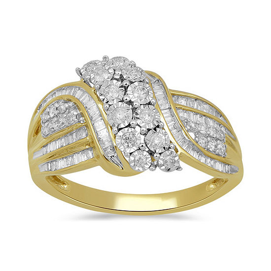Womens 1/2 CT. T.W. Genuine White Diamond 10K Gold Cocktail Ring