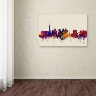 Trademark Fine Art Michael Tompsett Las Vegas Nevada Skyline Giclee Canvas Art