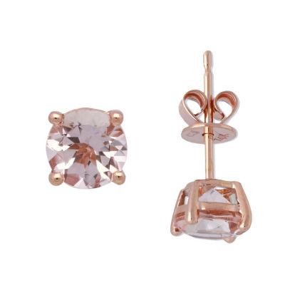 Genuine Pink Morganite 14K Rose Gold 6mm Stud Earrings