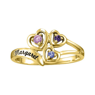 Womens Genuine Multi Color Stone 14K Gold Heart 3-Stone Ring