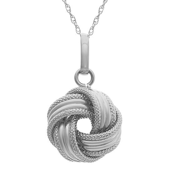 Made In Italy Womens 14K White Gold Knot Pendant Necklace