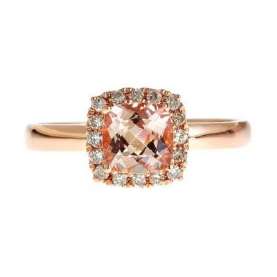 Womens 1/6 CT. T.W. Genuine Pink Morganite 14K Rose Gold Cocktail Ring